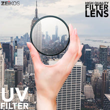 Load image into Gallery viewer, Zeikos 58MM Multi-Coated UV-CPL-FLD Professional Lens Filter Kit, Includes Miracle Fiber Cloth and Carry Pouch, Set for Nikon and Canon Lenses with a 58 MM Filter Size