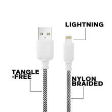 Load image into Gallery viewer, iHip Cute Cords 10ft  Black & White Braided MFI Lighting USB Sync Cable Bend Test Certified - iPhone Charger Cable for iPhone/ iPad /iPod - iHip