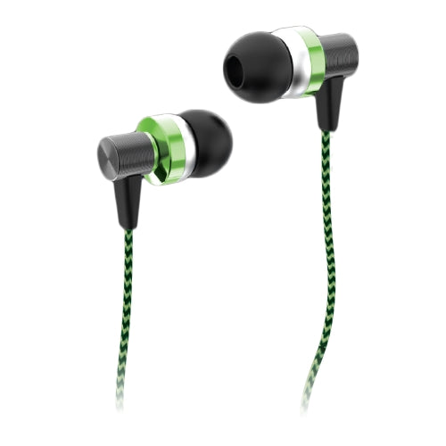 iHip ANZU Fiber Cord Built in Mic Earbuds, Wired in-Ear Headphones with Tangle-Free Cord, Noise Isolating, Bass Driven Sound, Ear Bud Tips- Green - iHip