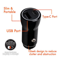 Load image into Gallery viewer, iHip Dual Type C & USB 3.1A Car Charger Black, Charging Adapter Compatible for iPhone 12/SE/11 Pro Max XS XR X 8 iPad Pro Air Mini, Samsung S10 S9 Note 20 Ultra, LG OnePlus,Pixel and More - iHip