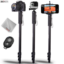 Load image into Gallery viewer, Zeikos 67 Inch Camera Monopod Kit, Comes with Bluetooth Remote Control Camera Shutter, Smartphone and GoPro Mount, Carrying Bag, and Miracle Fiber Microfiber Cloth