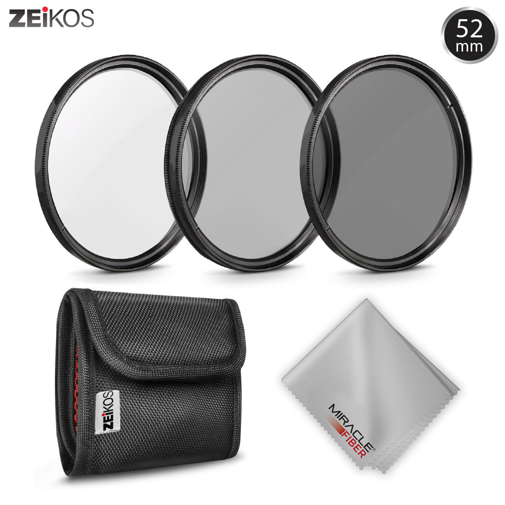 New 52MM Zeikos Neutral Density Professional Photography Filter Set (ND2 ND4 ND8) + MiracleFiber Microfiber Cleaning Cloth + Filter Pouch (52MM) - iHip