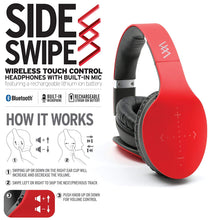 Load image into Gallery viewer, iHip Side Swipe Touch Control Wireless Bluetooth Headphones Over Ear - Foldable, Soft Memory-Protein Earmuffs, w/Built-in Mic Wired Mode PC/Cell Phones/TV - RED - Touch - Charging KIT - iHip
