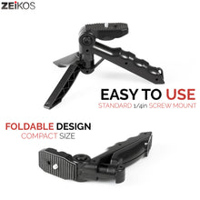 Load image into Gallery viewer, Zeikos Mini Tripod Tabletop Stand w/Soft Pistol Grip, Stable and Secure Camera Plateform, for DSLR, Audio Recorder and Video, Comes with Miracle Fiber Cloth - iHip