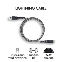 Load image into Gallery viewer, iHip 9ft PVC Black Fast Charging Lighting Braided Cable Rugged Tip Untra Strong Bend Test Certified - iPhone Charger Cable Durable USB Charging Cable Cord for iPhone/ iPad /iPod - iHip