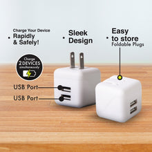 Load image into Gallery viewer, iHip Dual USB Wall Charger White Port 2.4AMP Wall Charger Brick Base Adapter Charging Block Charger Cube Plug Charger Box for iPhone X/6/6S/7/8 Plus, iPad, Samsung, Android, LG, HTC, Nokia, Phone