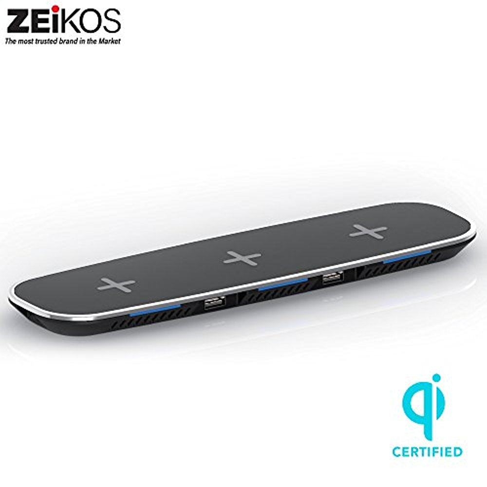 ZEIKOS 5W Wireless Charging Pad Compatible with all Qi-enabled devices - iPhone X,10,8 Plus,8, Samsung Galaxy S9 S9 Plus Note 8 S8 S8 Plus S7 S7 Edge S6 S6 Edge Note 5 & dual USB ports