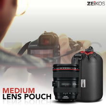 Load image into Gallery viewer, Zeikos Lens Case, Medium Size, Thick Protective Neoprene Pouch for DSLR Camera Lens (Canon, Nikon, Pentax, Sony, Olympus, Panasonic), Comes with a Miracle Microfiber Cloth - iHip