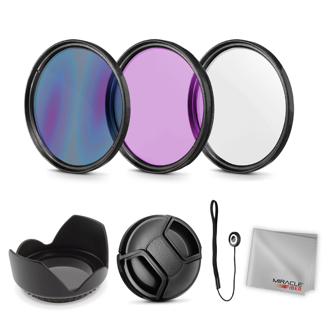 Zeikos 52MM Multi-Coated UV-CPL-FLD Professional Lens Filter Kit, Tulip Flower Lens Hood, Lens Cap and Lens Cap Keeper with Pouch and Miracle Fiber Microfiber Cloth