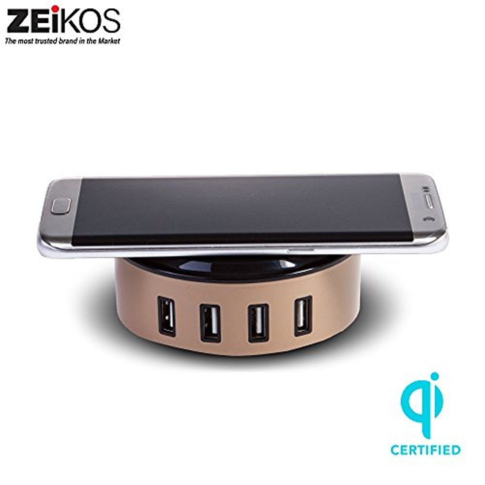 Zeikos 10W Wireless Charging Hub with 4 - 2.4A USB Output Comptabile with all Qi-enabled devies - iPhone X,10,8 Plus,8, Samsung Galaxy S9 S9 Plus Note 8 S8 S8 Plus S7 S7 Edge S6 S6 Edge Note 5 etc