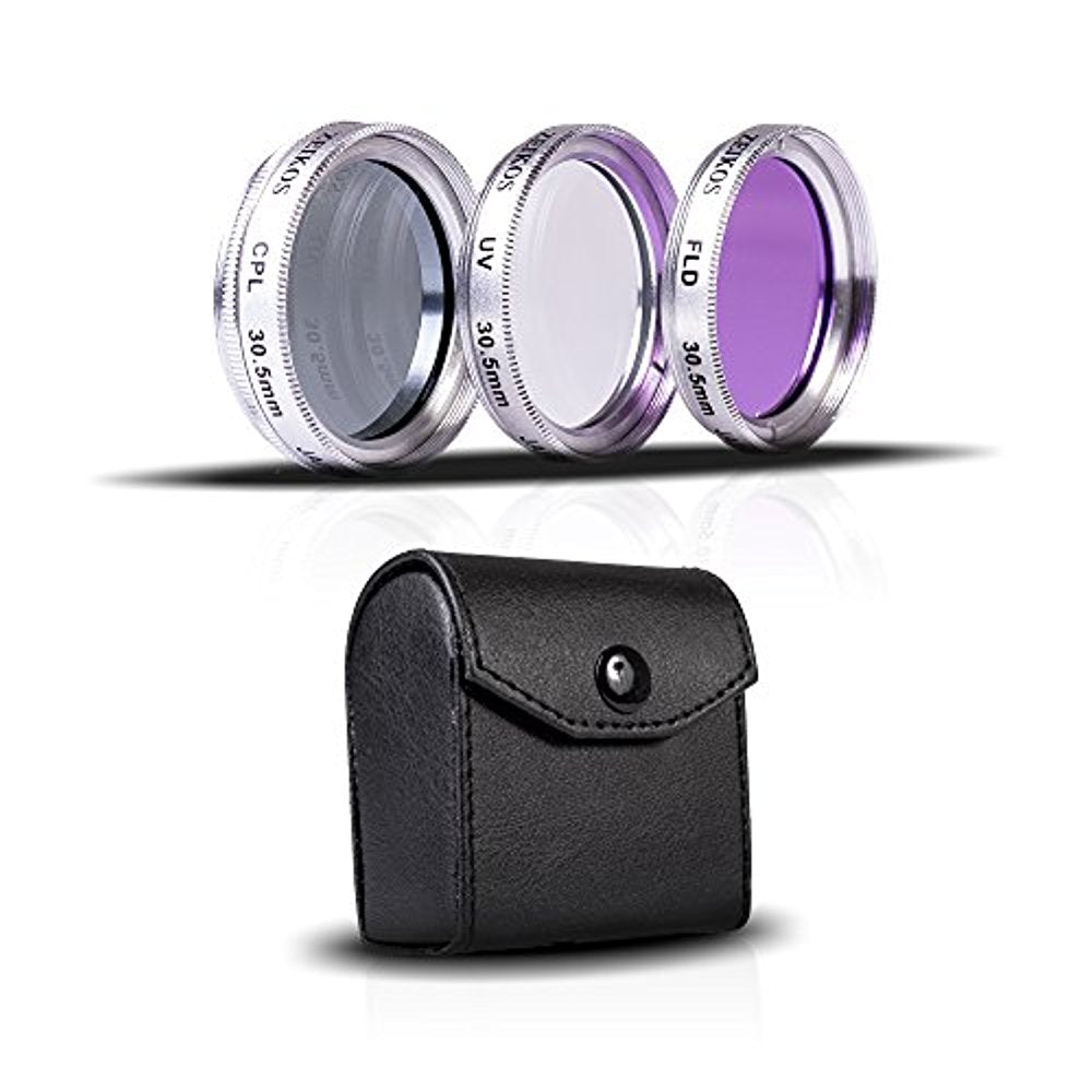 Zeikos 30.5mm Multi-Coated 3 Piece High Resolution Glass Filter Kit (UV, Fluorescent, Circular Polarizer) For JVC Everio GZ-HD320, HD300, HM200, MS130, MS120, MS100, MG255, MG155 & MG130 - iHip