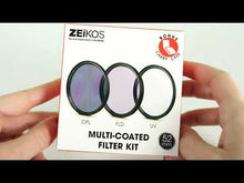 Load and play video in Gallery viewer, Zeikos 58MM Multi-Coated UV-CPL-FLD Professional Lens Filter Kit, Includes Miracle Fiber Cloth and Carry Pouch, Set for Nikon and Canon Lenses with a 58 MM Filter Size