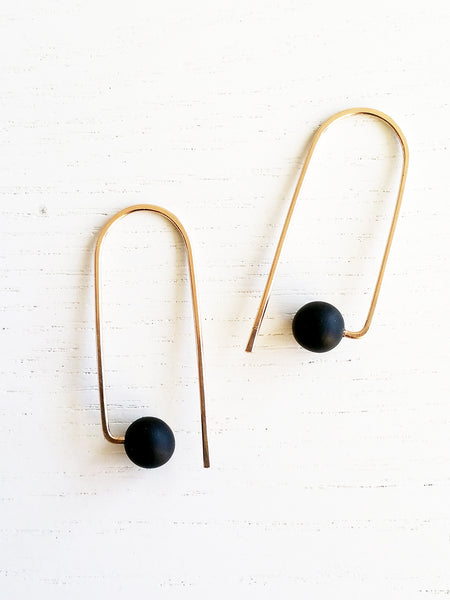 Hyworks: Curve W Earrings Black