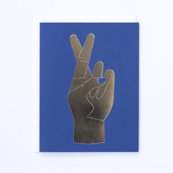 Silver Foil Fingers Crossed Note Card Royal Blue