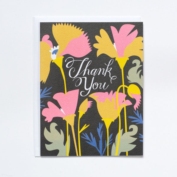 Notecard Hello California Poppy Thank You