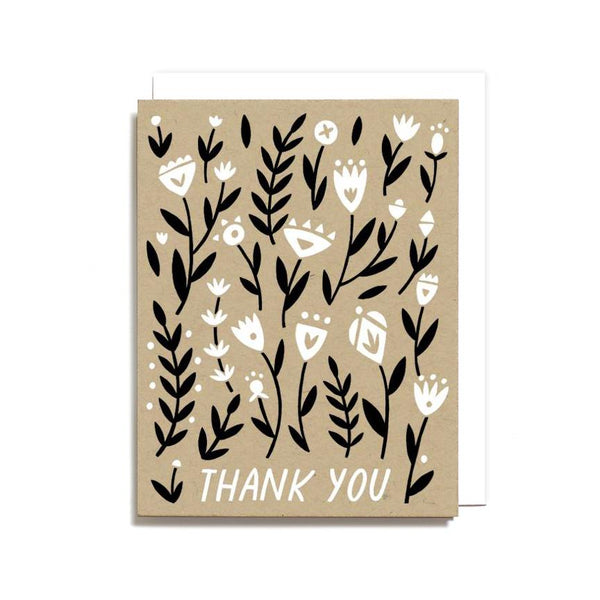 Notecard Thank You Floral Pattern