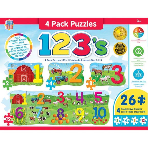 123 on the Farm - 4 Pack Puzzles - 26 pieces