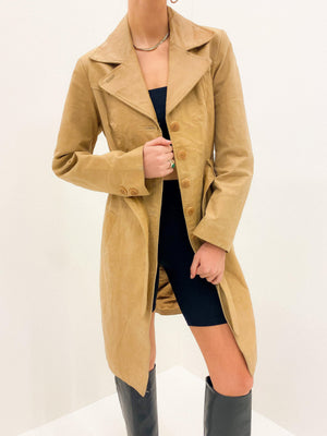 Light Camel Leather Trench Size M