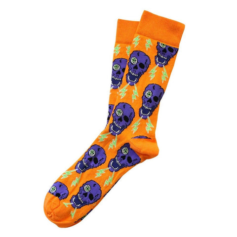 New 1 Pair Orange Skull Printed Socks
