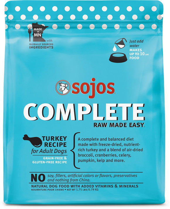 Sojos Complete Turkey Recipe Adult Grain Free Freeze Dried Raw Dog Food