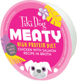 Tiki Dog Meaty High Protein Diet Chicken With Salmon Recipe in Broth Grain Free Wet Dog Food