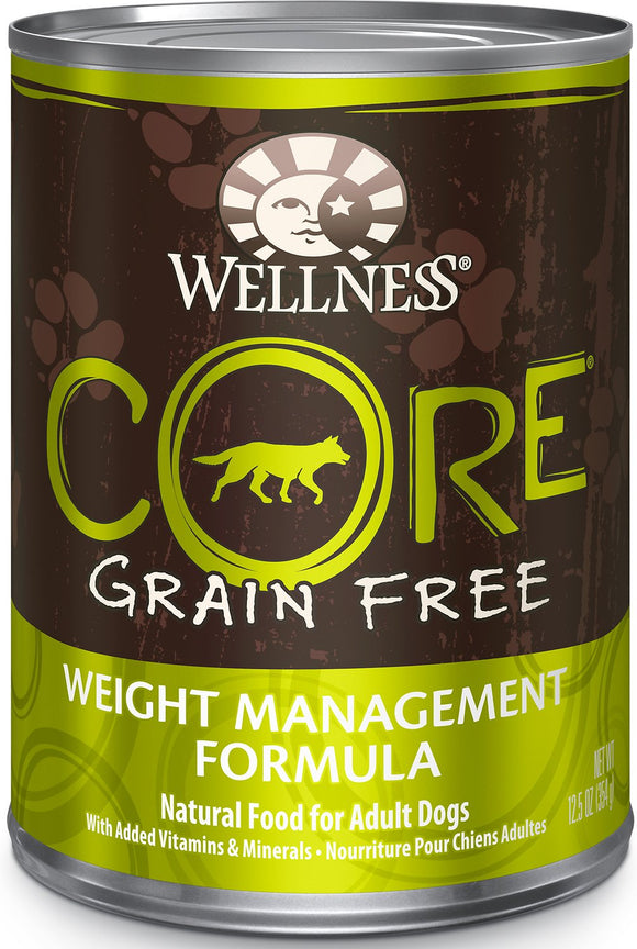 Wellness Core Grain Free Weight Management Formula Canned Dog Food, 12.5-Oz, Case of 12