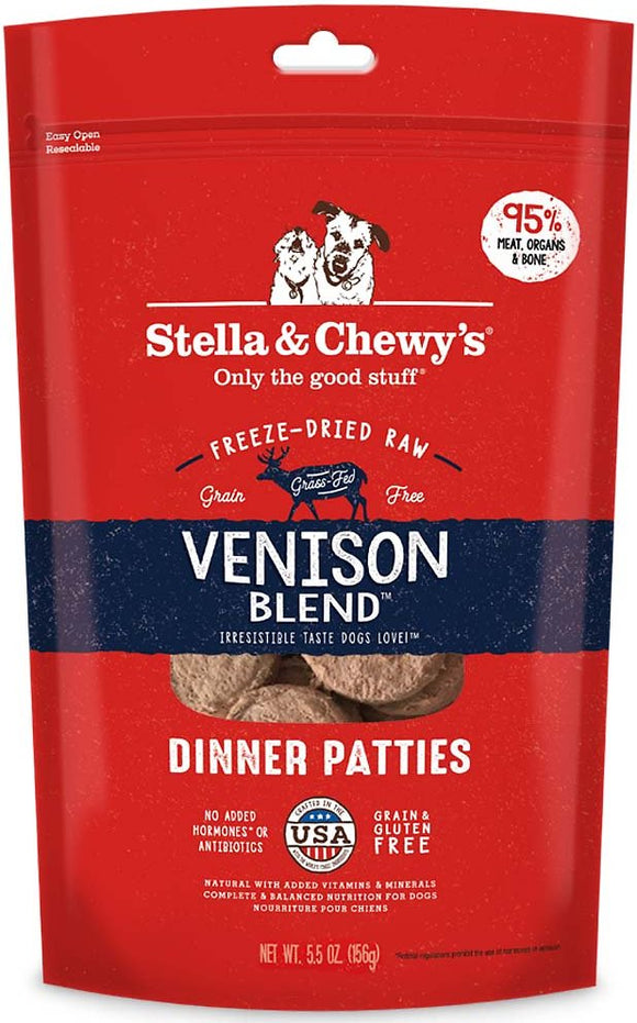 Stella & Chewy's Dinner Patties Venison Blend Grain Free Freeze Dried Raw Dog Food