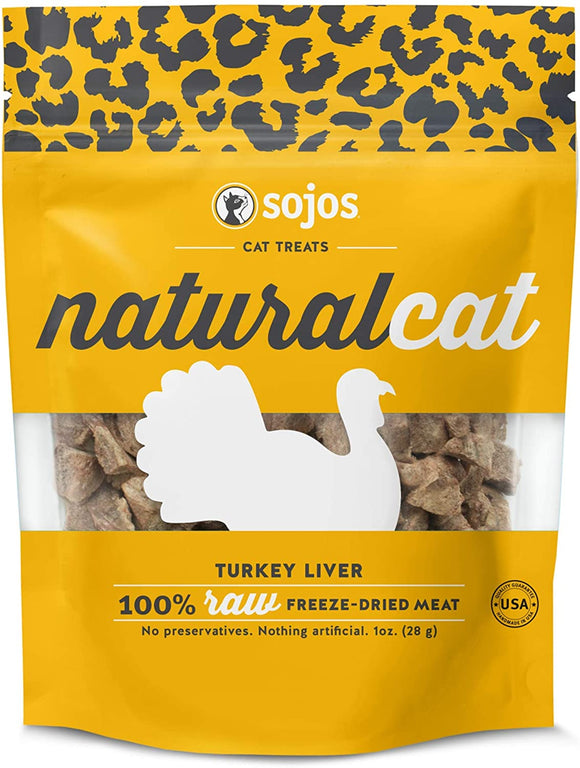 Sojos Naturalcat Turkey Liver Grain Free Freeze Dried Raw Cat Treats