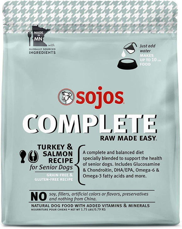 Sojos Complete Turkey & Salmon Recipe Senior Grain Free Freeze Dried Raw Dog Food