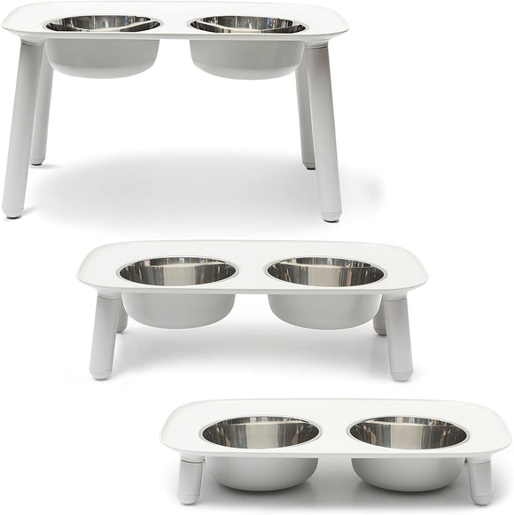 Messy Mutts Elevated Double Feeder With Stainless Bowls