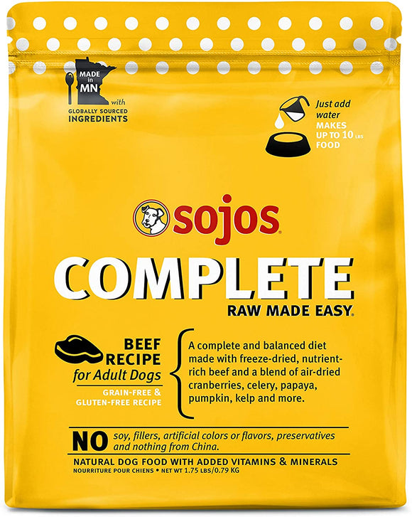 Sojos Complete Beef Recipe Adult Grain Free Freeze Dried Raw Dog Food