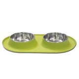 Messy Mutts Double Silicone Feeder With Stainless Bowls