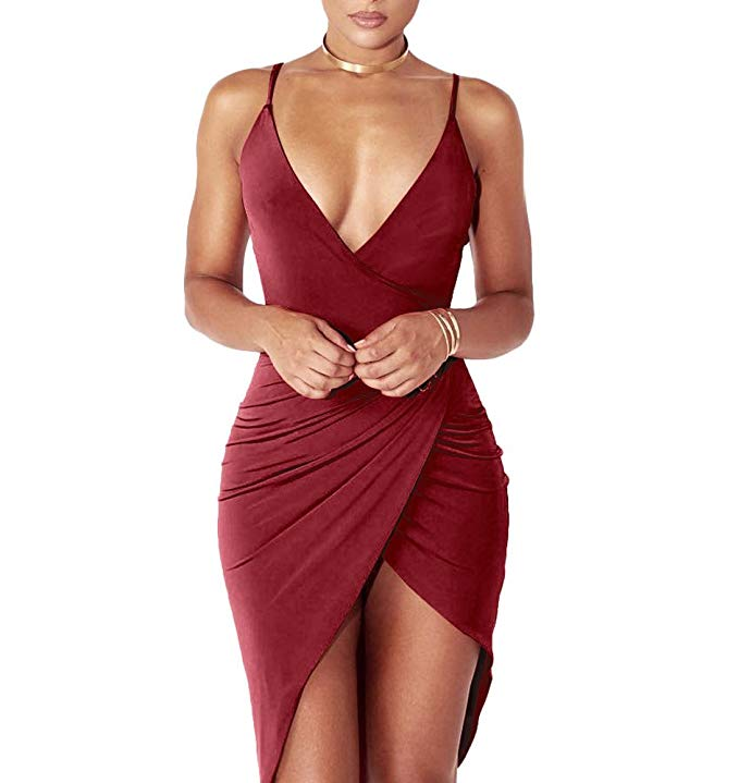 Sexy Deep V Neck Backless Slit Mini Dress Clubwear freeshipping - Muximo