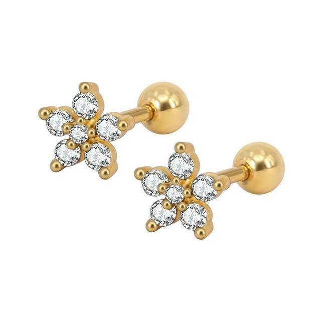 Crystal Flower Cartilage Earring - Muximo