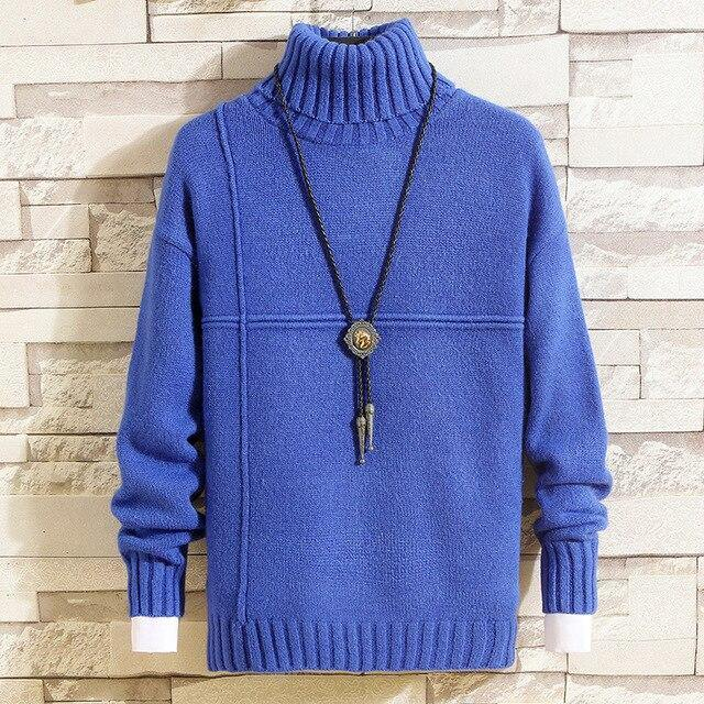 Mens Knitted Cashmere Wool Double colla O-Neck Jumper Sweater - Muximo