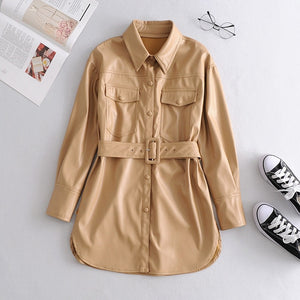 Leather Shirt Street Personality Metal Single Buttons Blouse