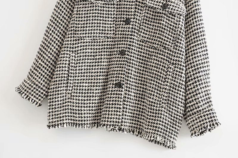 Vintage Stylish Frayed Tassel Oversized Tweed Plaid Jacket