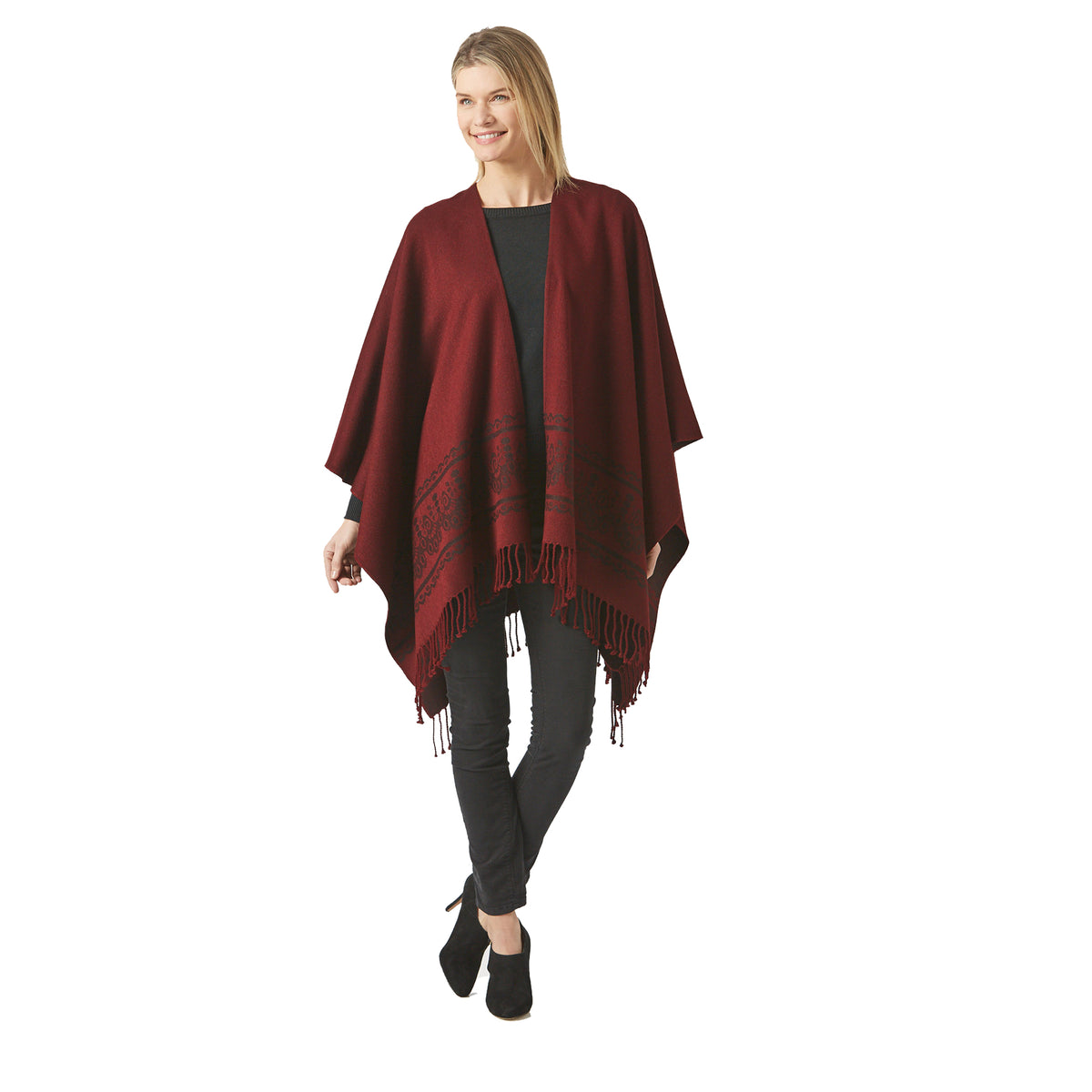 Women's Burgundy Shawl