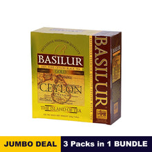 Load image into Gallery viewer, Island of tea collection Gold - Basilur - 100 tea bags 200g (7.05oz) x 03 packs