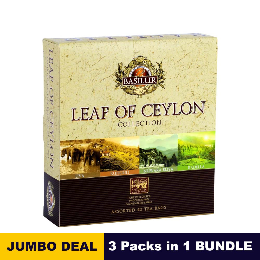 Leaf of Ceylon collection - Basilur - 40 Tea Bags assorted gift pack x 03 packs in bundle