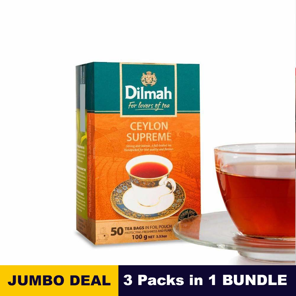 Ceylon supreme tea bags - Dilmah - 50 Tea bags - 100g (3.53oz) x 03 packs bundle