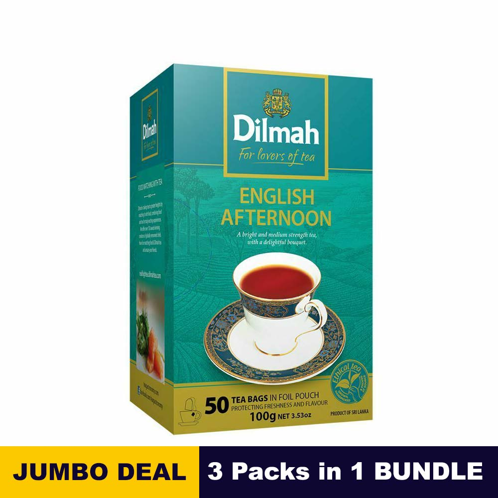 English afternoon tea bags - Dilmah - 50 tea bags 100g (3.53oz) x 03 packs bundle
