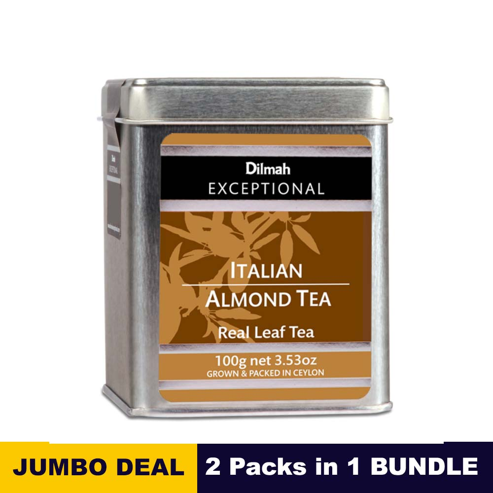 Exceptional Italian Almond - Dilmah - 100g (3.52oz) tin caddy x 02 Packs bundle