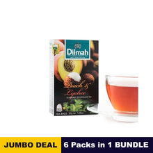 Load image into Gallery viewer, Peach flavored Black Tea - Dilmah - 20 Tea bags x 6 Packs bundle