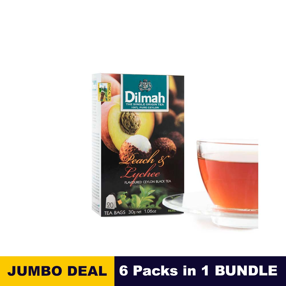 Peach flavored Black Tea - Dilmah - 20 Tea bags x 6 Packs bundle