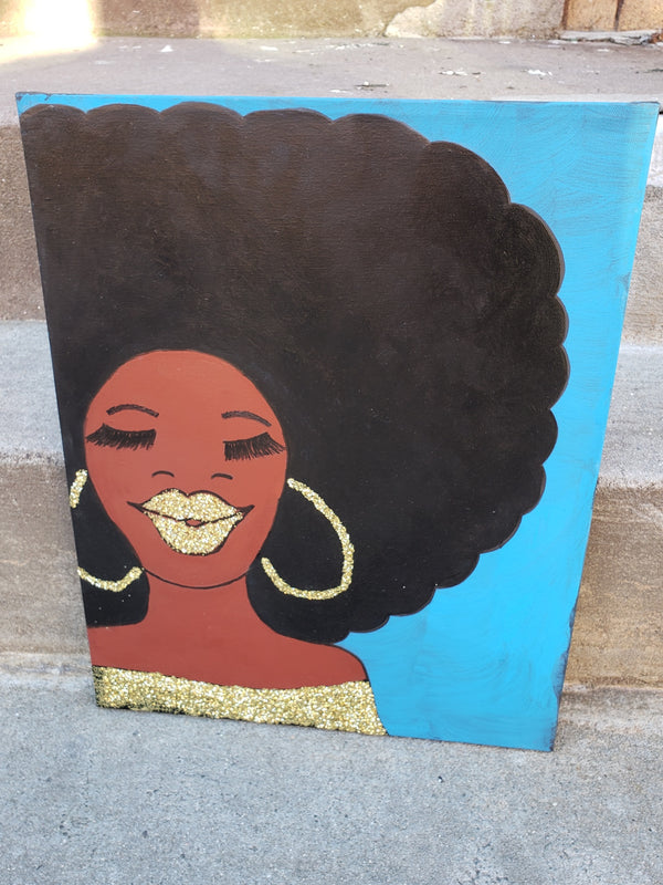 """GLITTER LIP WITH AFRO"" 16 X 20 CANVAS"