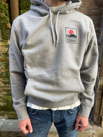 Sunset on Mt Fuji Hoodie - Mid Grey Marl