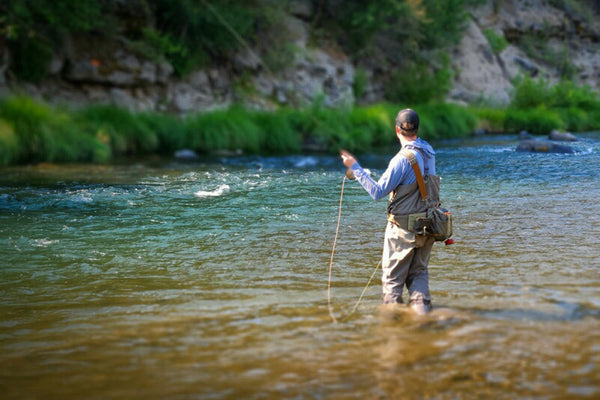 Man fly fishing in the Truckee River