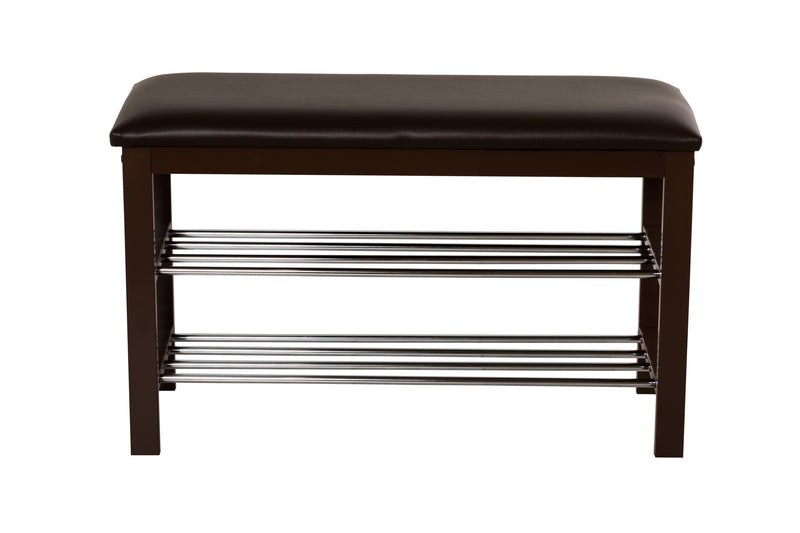 Aspect 3-Tier Shoe Rack & Bench-Brown