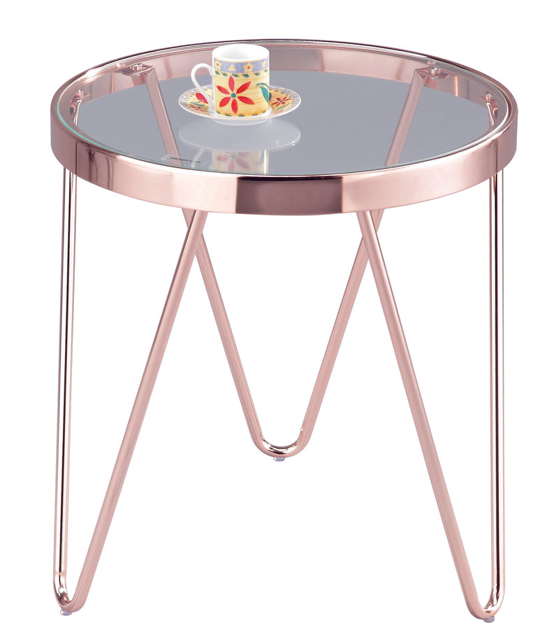 Lucia Clear Glass Round Side/Coffee/End/Lamp Table,Copper Base